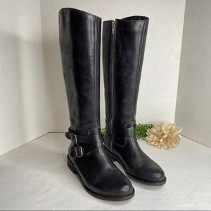 Hinge DEVIN Black Leather Riding Boots Size 6.5M